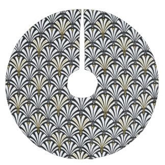 Art Deco fan pattern - black and white Brushed Polyester Tree Skirt