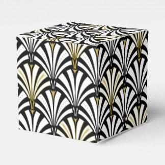 Art Deco fan pattern - black and white Wedding Favour Boxes