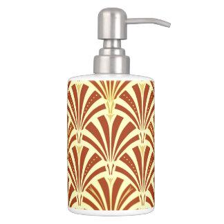 Art Deco fan pattern - copper on yellow Bathroom Set