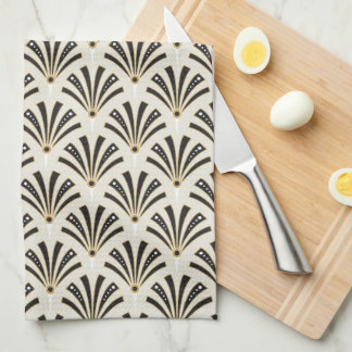 Art Deco Fan Pattern Cream Tea Towel