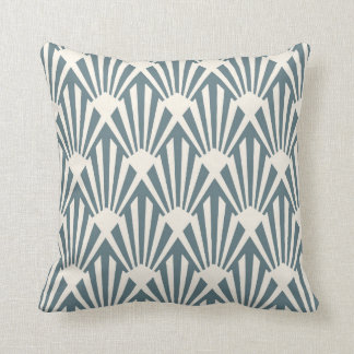 Art Deco Fan Pattern in Steel Blue Cushion