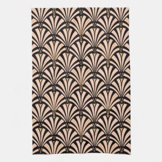 Art Deco fan pattern - peach on black Tea Towel