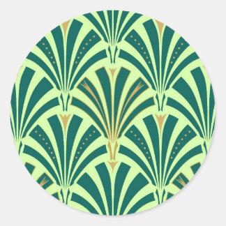 Art Deco fan pattern - pine and mint green Classic Round Sticker