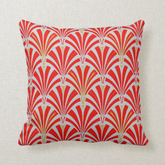 Art Deco fan pattern - red on pearl gray Throw Pillow