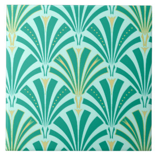Art Deco fan pattern - turquoise on aqua Large Square Tile
