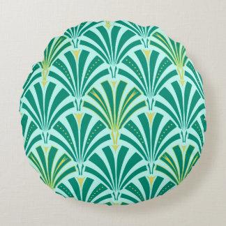 Art Deco fan pattern - turquoise on aqua Round Cushion