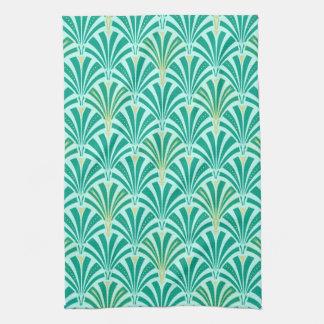 Art Deco fan pattern - turquoise on aqua Tea Towels