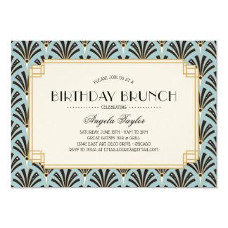 Art Deco Fans Birthday Brunch Blue Card