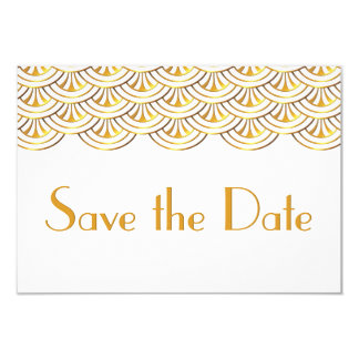 Art Deco Fans Gold Look Save the Date Wedding Card