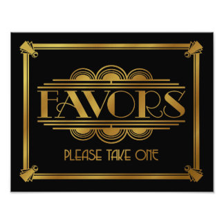 art deco Favor sign, wedding sign, party, gold Photo