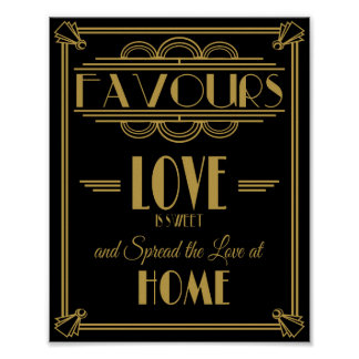Art Deco Favours Sweet Print for wedding