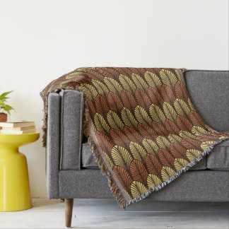 Art Deco Feather Pattern, Dark Brown and Rust