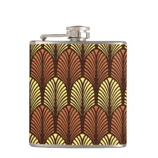 Art Deco Feather Pattern, Dark Brown and Rust Hip Flask