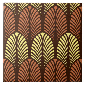 Art Deco Feather Pattern, Dark Brown and Rust Large Square Tile