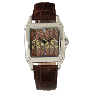 Art Deco Feather Pattern, Dark Brown and Rust Watch