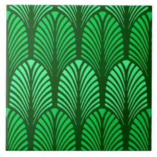 Art Deco Feather Pattern, Emerald Green Ceramic Tile