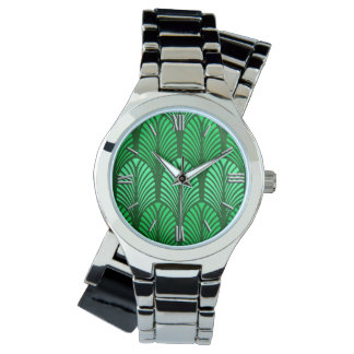 Art Deco Feather Pattern, Emerald Green Watch