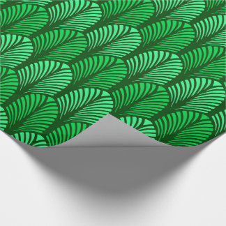 Art Deco Feather Pattern, Emerald Green Wrapping Paper