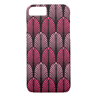 Art Deco Feather Pattern, Fuchsia Pink and Black iPhone 7 Case