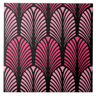 Art Deco Feather Pattern, Fuchsia Pink and Black Tile