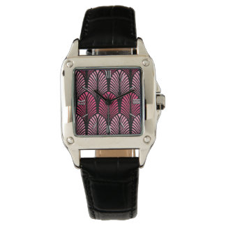 Art Deco Feather Pattern, Fuchsia Pink and Black Watch