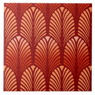 Art Deco Feather Pattern, Mandarin Orange Ceramic Tile