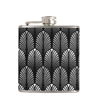 Art Deco Feather Pattern, Silver Gray and Black Flasks