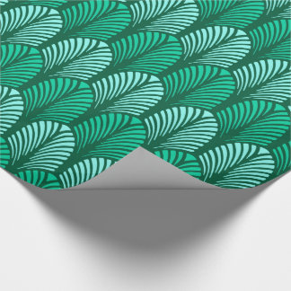 Art Deco Feather Pattern, Turquoise and Aqua Wrapping Paper