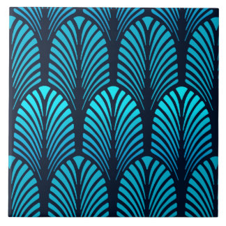 Art Deco Feather Pattern, Turquoise and Navy Large Square Tile