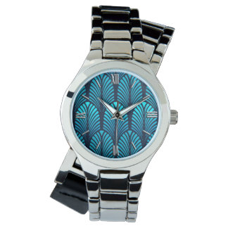 Art Deco Feather Pattern, Turquoise and Navy Watch