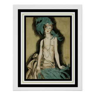 """Art Deco """"Flapper with Feathers"""" 16 x 20 Poster"""