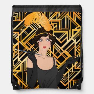 art deco, flipper girl, vintage,great Gatsby,chic, Drawstring Bag
