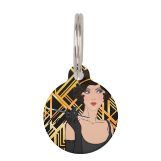art deco, flipper girl, vintage,great Gatsby,chic, Pet ID Tag