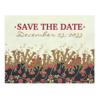 Art Deco Floral refwi2 wedding save the date Postcard