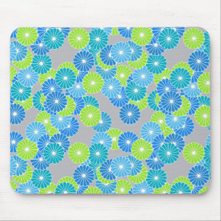 Art Deco flower pattern - blue and lime green Mouse Pads