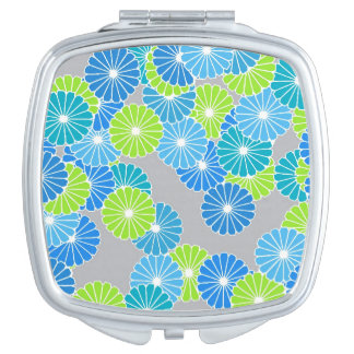 Art Deco flower pattern - blue and lime green Travel Mirror