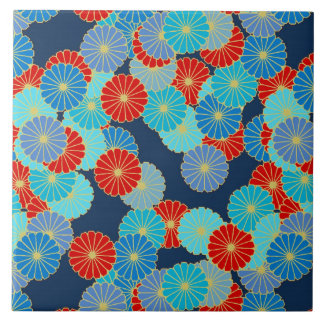 Art Deco flower pattern - blue, turquoise and red Tiles