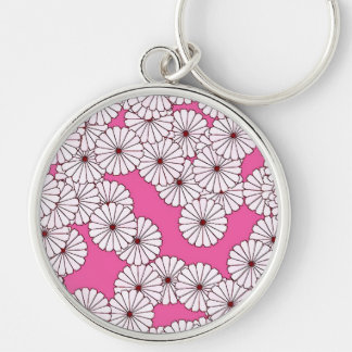Art Deco flower pattern - cream on pink Silver-Colored Round Key Ring