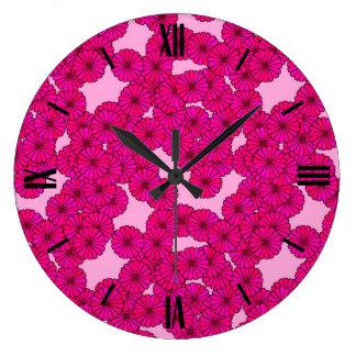 Art Deco flower pattern - magenta on pink Large Clock