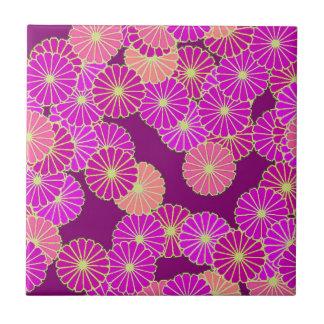 Art Deco flower pattern - shades of violet, coral Ceramic Tile