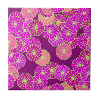 Art Deco flower pattern - shades of violet, coral Small Square Tile