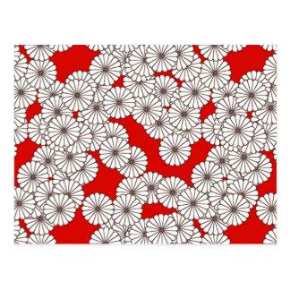 Art Deco flower pattern - white on red Postcard