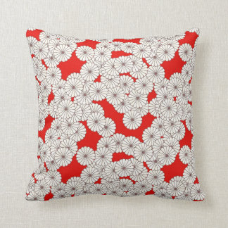 Art Deco flower pattern - white on red Throw Pillow
