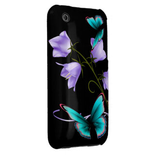 Art Deco Flowers and Butterfly Case-Mate iPhone 3 Cases