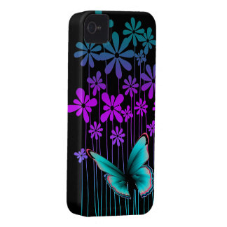 Art Deco Flowers and Butterfly iPhone 4 Case-Mate Case
