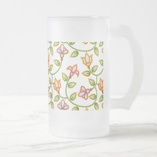 Art Deco Flowers, Leaves and Beads ANY COLOR BACKG Frosted Beer Mugs
