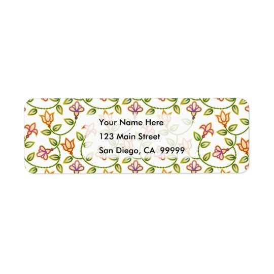 Art Deco Flowers, Leaves and Beads ANY COLOR BACKG Return Address Label