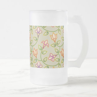Art Deco Flowers, Leaves and Beads on Beige Frosted Beer Mugs