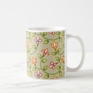 Art Deco Flowers, Leaves and Beads on Beige Mugs