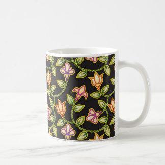 Art Deco Flowers, Leaves and Beads on Black Coffee Mugs
